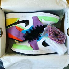 BNIB NIKE AIR JORDAN 1 MID WOMENS LIGHTBULB MULTICOLOUR EASTER UK 5