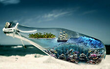 Framed Print - Sailing Ship in a Bottle (Picture Poster Ocean Sea Nautical Art)