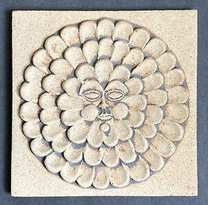 Vtg John Wenzel Clayworks Tile Trivet Stoneware MCM Signed Petal Sun Face
