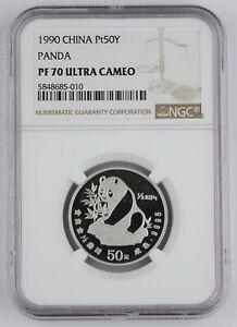 China 1990 50 Yuan 1/2 Oz 9995 Platinum Proof Panda NGC PF70 Ultra Cameo Perfect