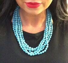 Native American Vintage Jewelry Turquoise Bead Multi-Strand Necklace