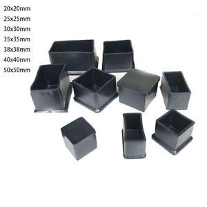 Square Rubber End Cap Black Chair Table Leg Caps Feet Pads Furniture 20mm - 50mm