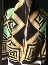 Echarpe motif triangle vert jaune marron laine et soie