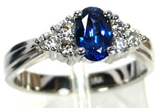 Sapphire Ring 18K white gold Solitaire VS Natural Ceylon Blue Heirloom
