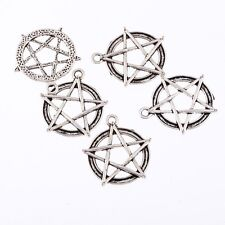 Pentagram Round Star Beads Tibetan Silver Charms Pendant Fit DIY 25mm 5pcs