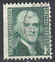 USA Briefmarke gestempelt 1c Thomas Jefferson Rundstempel / 1777