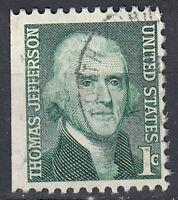USA Briefmarke gestempelt 1c Thomas Jefferson Rundstempel / 1777