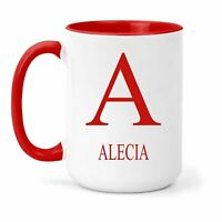 Alecia Name & Initial Mug - Gift in Many Colours For Tea or Coffee