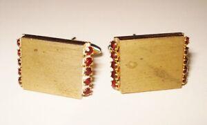 VINTAGE  GOLD PLATE 1940'S SWANK CUFFLINKS RUBY RED STONES DESIGN NR