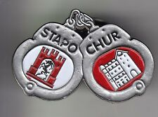 RARE PINS PIN'S .. POLICE MENOTTE BLASON CHEVRE STAPOLIZEI CHUR COIRE SUISSE ~DC