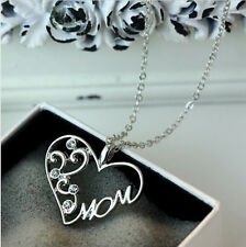 Mum Gifts Crystal Love Heart Pendant Rhinestone Necklace Silver Jewelry Charm