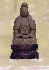 ANTIQUE VINTAGE QUAN YIN HOLDING BUDDAH HAND CARVED CHINESE SOAPSTONE