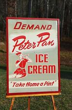 VINTAGE 40's PETER PAN ICE CREAM EMBOSSED SIGN LIKE DAIRY QUEEN NEAR MINT RARE!