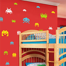 48 SPACE INVADERS wall bedroom stickers ANY COLOUR