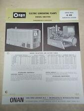 Vtg Onan Brochure~15-KW RDJC Electric Generating Plants/Generator~Spec Sheet