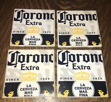 Handmade Set Of 4 Ceramic Coasters Corona Extra Beer Theme 41/4x41/4
