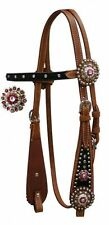 SHOWMAN WESTERN BLING! HORSE BRIDLE HEADSTALL WITH PINK CRYSTALS AND RHINESTONES