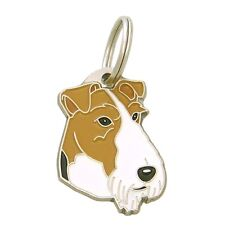Fox terrier Dog ID tag, Engraved, Stainless Steel, Personalized, Handmade, Charm