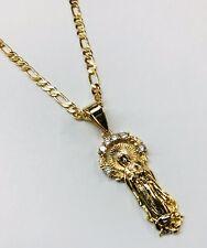 Cadena y Medalla Diamantada de la Virgen de Guadalupe Oro laminado 14k