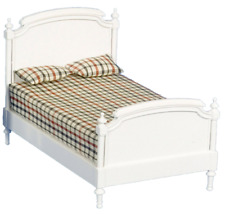 Dolls House Shabby Chic White Wooden Double Bed Miniature Bedroom Furniture