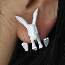 Lovely 3D Cool Punk White Tone Animal Hare Ear Stud Earrings Womens Girls Gift
