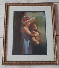 Home Interiors little Girl Holding A Teddy Bear Print Picture Birkenstock 18X22