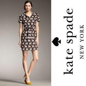 KATE SPADE Dana Linen Shirt Dress Womens M Brown Cream Giraffe Print $325 Safari