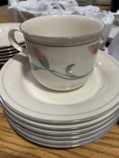 12 Lenox Chinastone Iris on Grey Gray Pinstripe Floral cups and saucer sets MINT