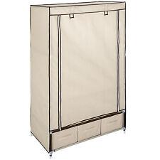 Armoire de rangement penderie dressing en tissu textile pliable 3 tiroirs beige