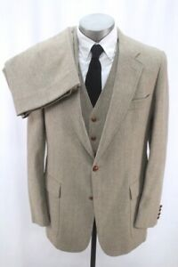 mens brown herringbone VINTAGE 70s 3pc Tweed Pant Suit wool vest jacket 42 R L