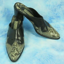 Brighton Westy Womens 8.5 M Mules Black Leather Brown Snakeskin Heels ITALY Made