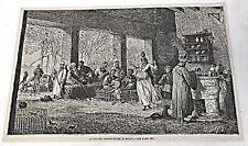 1878 magazine engraving ~ VILLAGE COFFEE HOUSE IN EGYPT