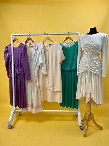 JOB LOT OF 10 x MIXED ERA VINTAGE DRESSES. MIX OF COLOURS, SIZES AND STYLES.