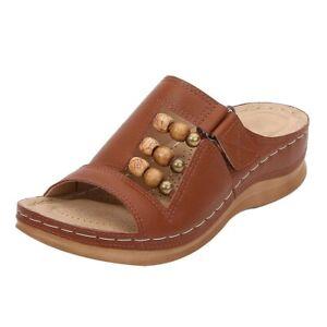 Womens Slipper Orthopedic Wedge Heel Slip On Open Toe Mules Summer Sandals Shoes