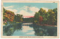 North East PA Greetings from Pennsylvania Vintage Linen Postcard w Cancel 1947