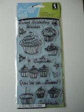 INKADINKADO CLEAR STAMPS - BIRTHDAY CUPCAKE BNIP *LOOK*