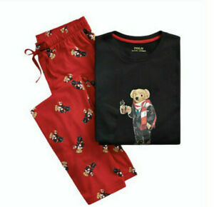 POLO RALPH LAUREN Men's Polo Cocoa Bear Pajama 2-Piece Set Large
