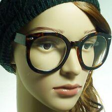 RETRO Oversized Round Thick Nerd Frame Trendy Clear Lens Eye Glasses TORTOISE