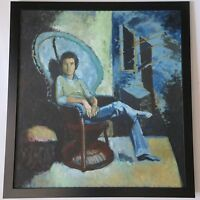 CALIFORNIA MODERNIST PORTRAIT WITH BLUE VINTAGE 1970'S EXPRESSIONISM MYSTERY ART