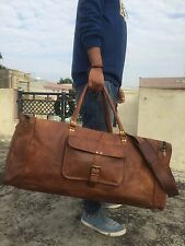 "28"" Men's genuine vintag Leather large duffle travel gym weekend overnight bag"
