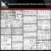 【European Architecture design elements,Roman columns,Carved CAD Drawings】