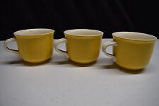 Lot of 3 Mikasa Everfresh Coffee Mugs Tea Cups C8300 Yellow white china JAPAN