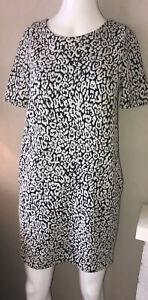 Dorothy Perkins Dress Size 8 Office Smart Black White Tunic Knee Length VGC