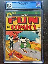 MORE FUN COMICS #63 CGC VF+ 8.5; White pg!; Spectre cover! rare!