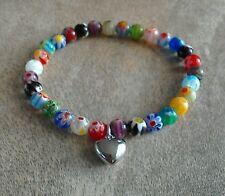 Murano Glass Millefiori Heart Charm Beaded Bracelet Silver Multicolour HANDMADE