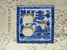 BLUE WILLOW TRADITIONAL COMBO SWITCH & OUTLET COVER ORIENTAL CHINESE PAGODA