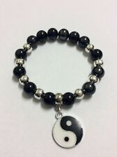 Black acrylic silver plated smooth beads Ying Yang enamel charm stretch bracelet