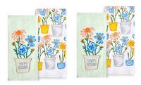 Celebrate Spring Together Kitchen Towels HAPPY SPRING FLOWER POT 4-Piece Set NEW
