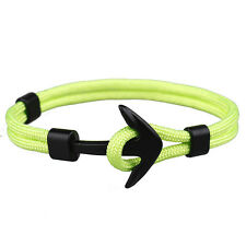 Fashion Handmade Men's Alloy Anchor Polyester Rope Wristband Bracelet Jewelry