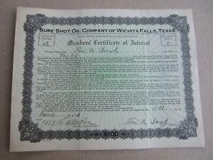 Old Vintage 1918 - SURE SHOT OIL CO. - Stock Certificate -  WICHITA FALLS TEXAS